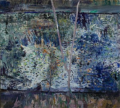 Fred Williams, Kew Billabong III 1975,  oil on canvas  signed upper left  97.2 (h) x 106.7 (w) cm