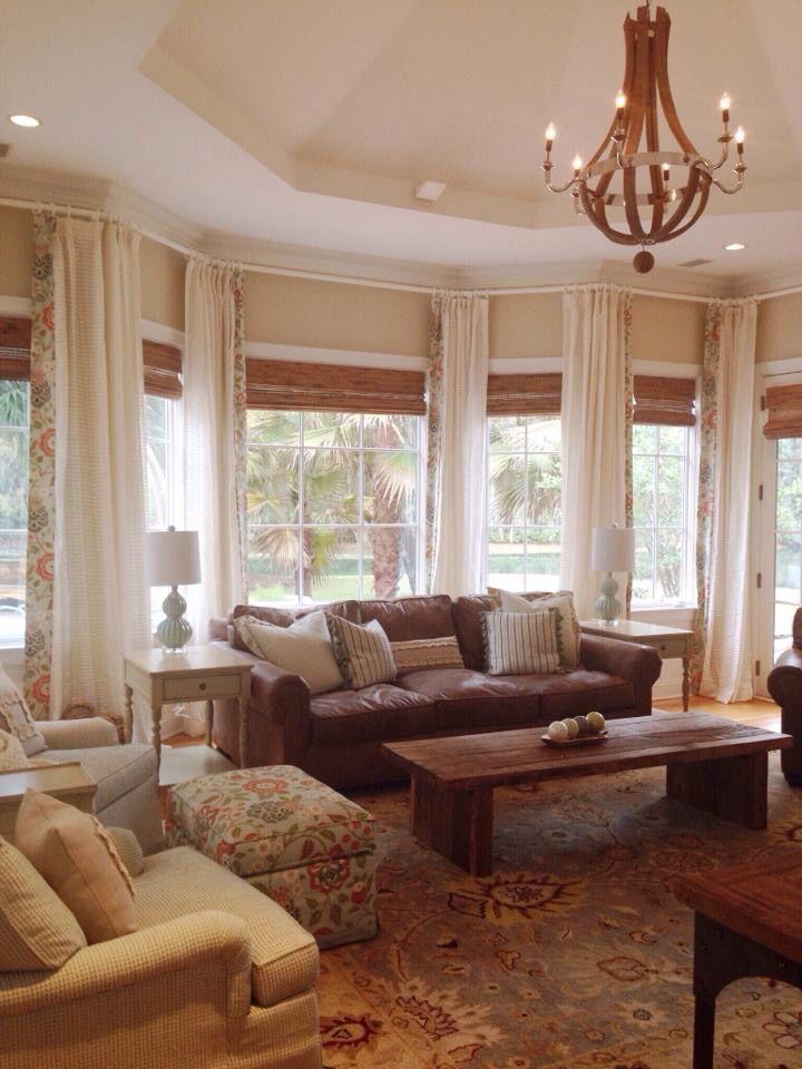 coastal family room living room great room matchstick blinds restoration hardware chandelier