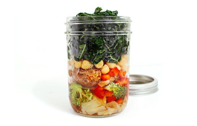 On-the-Go Jar Salad: Hearty Chickpea, Kale & Artichoke Heart Salad - YumUniverse