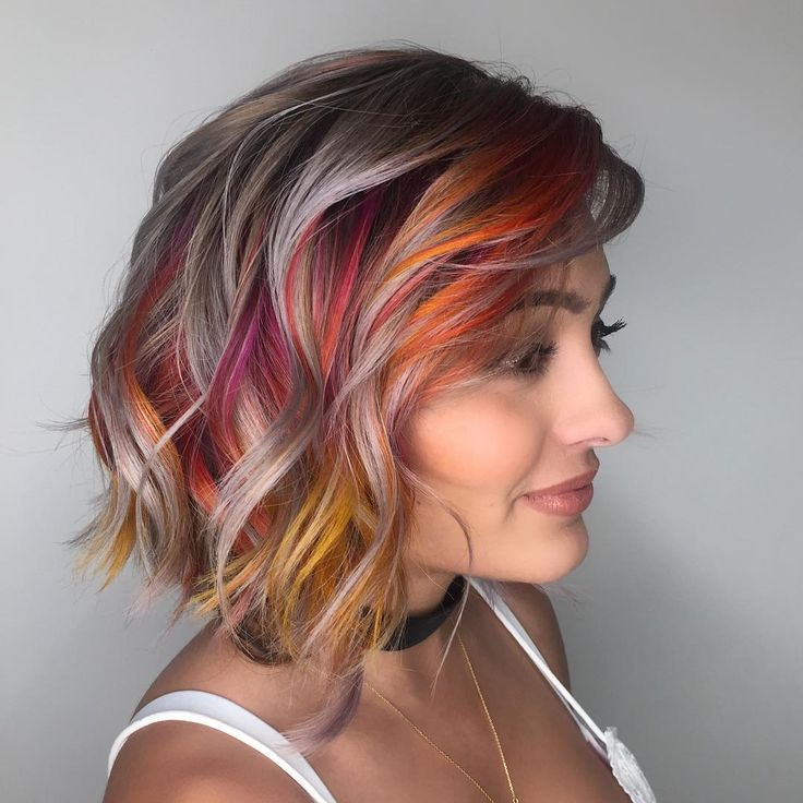 """2,416 Likes, 79 Comments - Las Vegas, NV Hair Colorist (@kateloveshair) on Instagram: """"Bursts of color  . . . . . Silver: @kenraprofessional SV Colors: @joicointensity Fiery coral, hot…"""""""