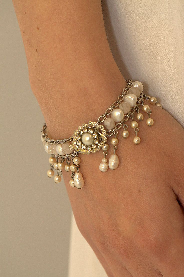 Bridal Bracelet,Pearls Wedding Bracelet,Rhinestone,Vintage Style Bracelet,Victorian Jewelry,Wedding Jewelry,Crystals Bracelet. $139.00, via Etsy.