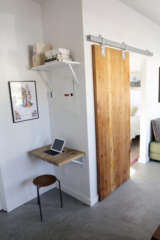 Garage Apartment Barn Door to the Bedroom Corner Desk