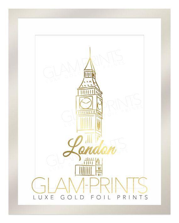 London Big Ben Clock Building City Gold Foil Print Art Typography Sign Picture Positive Quote Motivation 8.5x11 Multiple Sizes Britain