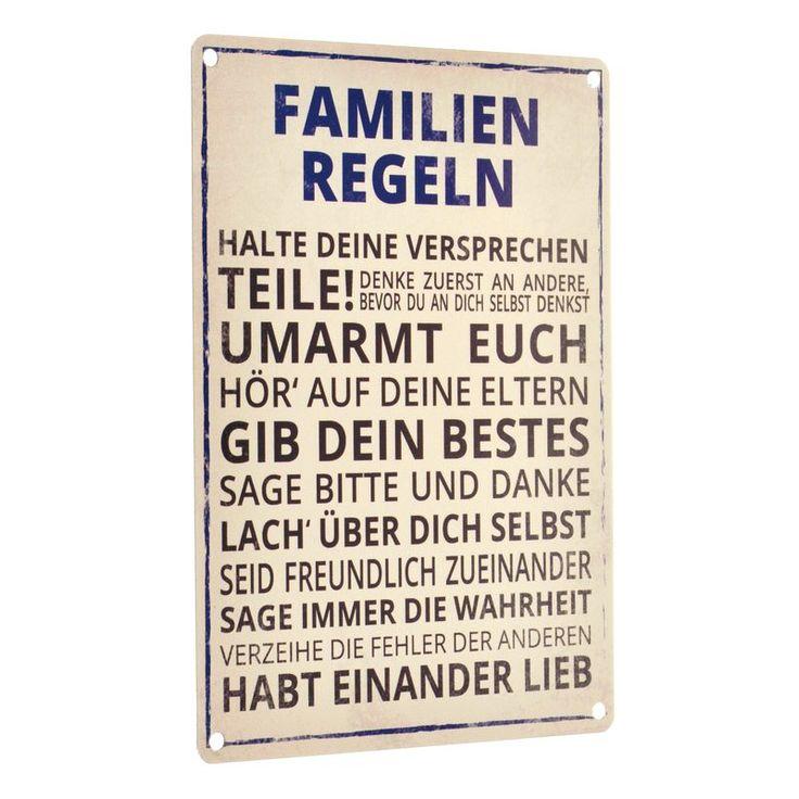 Das Familien Regeln Blechschild                                                                                                                                                                                 Mehr