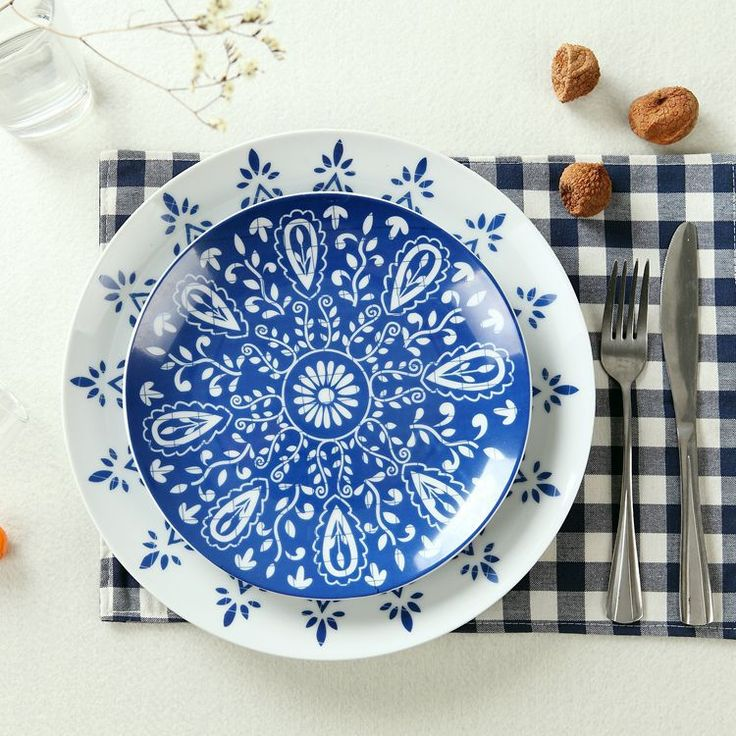 Creative Tableware Ceramic Plate Beefsteak Dish Under The Blue and White Porcelain Glaze Color Fish Dish and Plates Sets