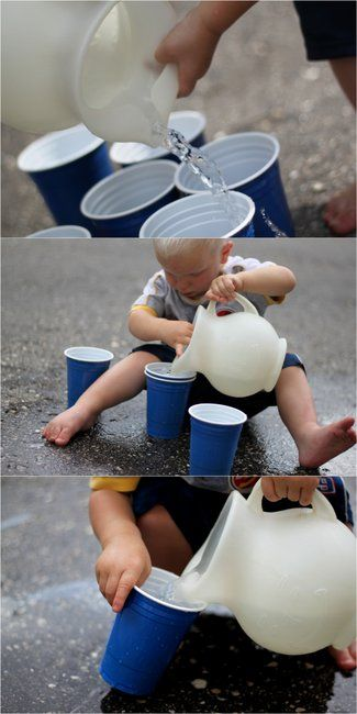 A toddler activity - learning to pour water. This will be great for the patio this spring!