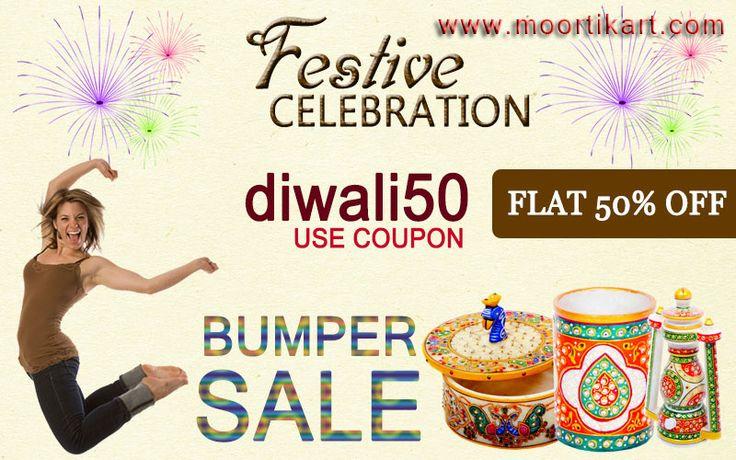Festive celebration Use coupon code diwali50 Flat 50% OFF BUMPER SALE For more information you can visit http://www.moortikart.com