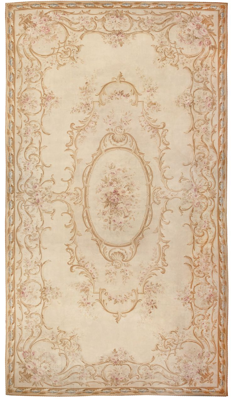 Large Oversized Ivory French Aubusson Antique Rug 46451