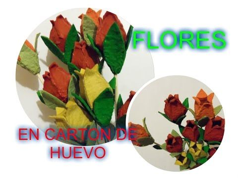 (3010) Flores Recicladas en cartón de huevo (egg carton) - YouTube