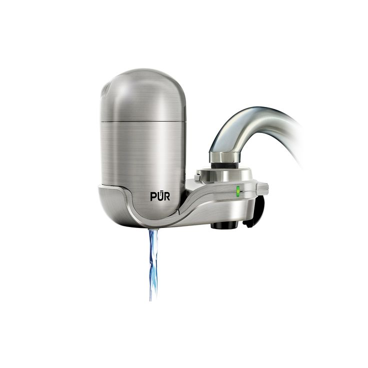 pur advanced faucet water filter stainless silver