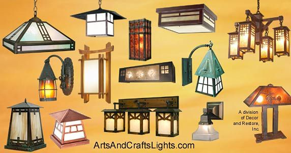 arts and craft bungalow images | Arts and Crafts lights for Craftsman Bungalow homes