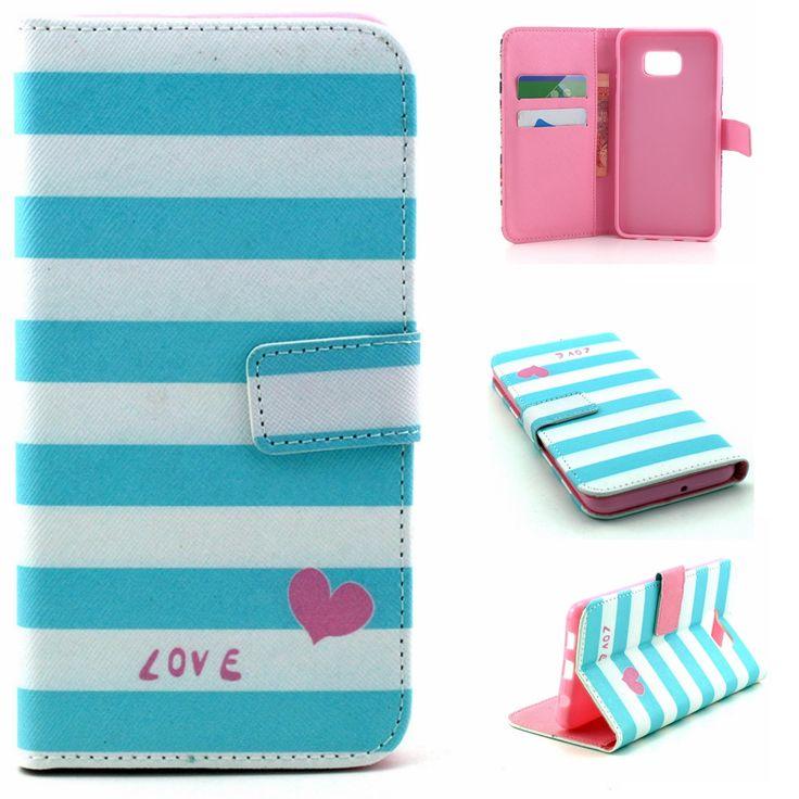 Синие полосы в форме сердца любовь дизайн искусственная кожа флип стенд кошелек крышка чехол для Samsung Galaxy S6 края плюс / S6 + G928F