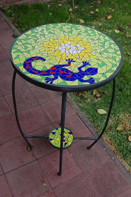 Love the colors #mosaic #table