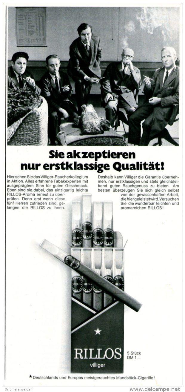 Original-Werbung/ Anzeige 1969 - VILIGER RILLOS / ZIGARILLOS - ca. 110 x 240 mm
