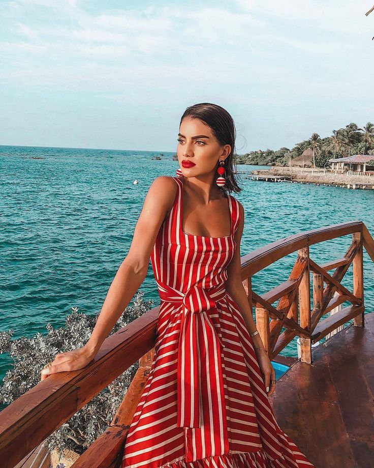 Net red with the holiday wind sling stripe print stitching big swing bohemian dress