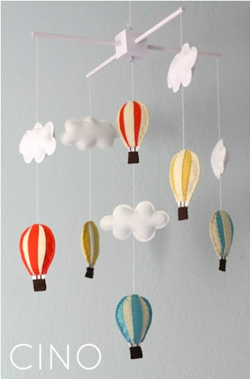 DIY Mobile; I know for a baby but those hot air balloons are just to die for, want one in our nap room!
