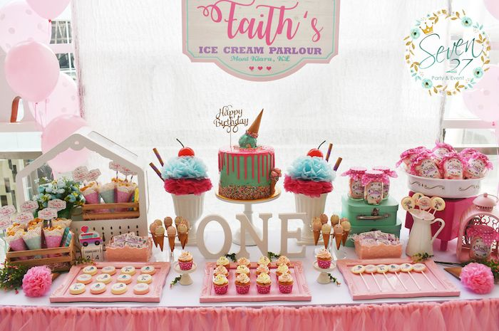Ice Cream Dessert table from a Girly Ice Cream Birthday Party on Kara's Party Ideas   KarasPartyIdeas.com (24)