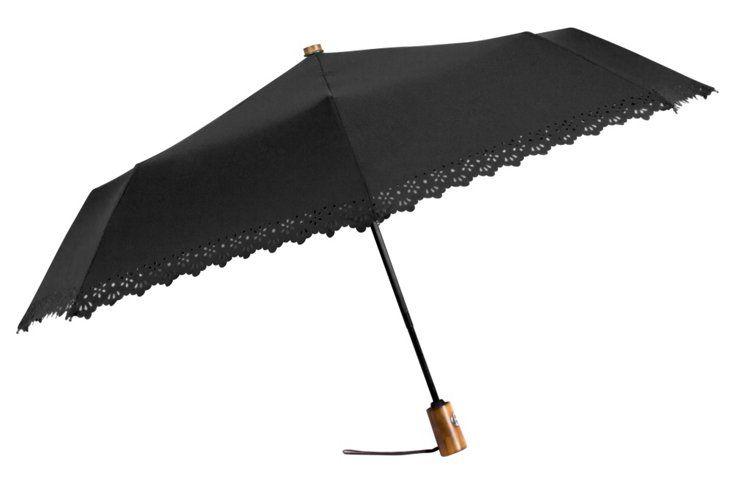 Eyelet Compact Umbrella, Black