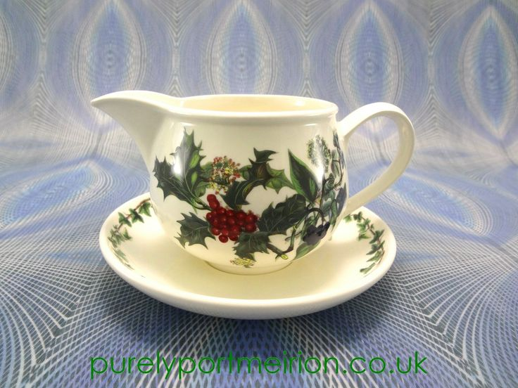 Portmeirion Holly And Ivy Gravy Boat & Stand