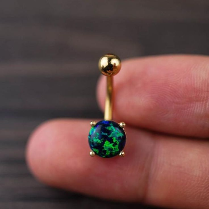 Green Opal Belly Ring Body Jewelry Body Piercing  #Piercing #NipplePiercing #BodyPiercingJewelry #BodyJewellery #NavelRing #SeptumRing #JennySweety #BodyMods #HelixEarring #BodyModification