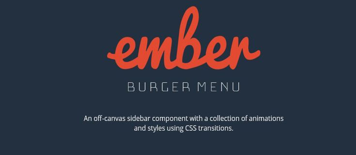Ember Burger Menu: Off-canvas sidebar component using CSS transitions