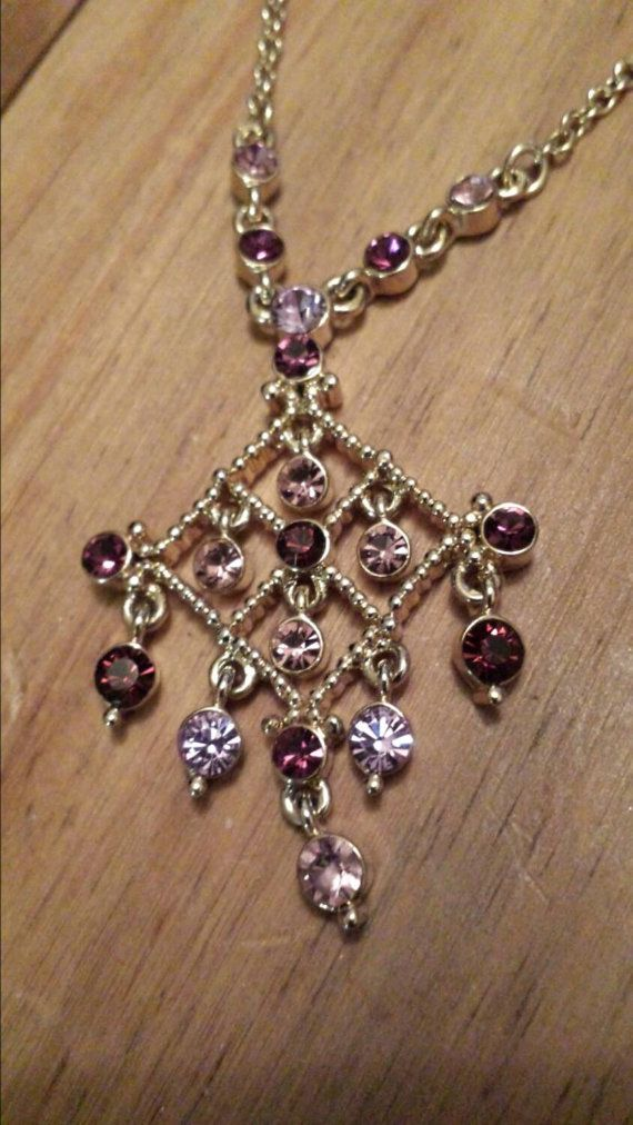 Vintage necklace . purple and pink   glass stones with by justgemz