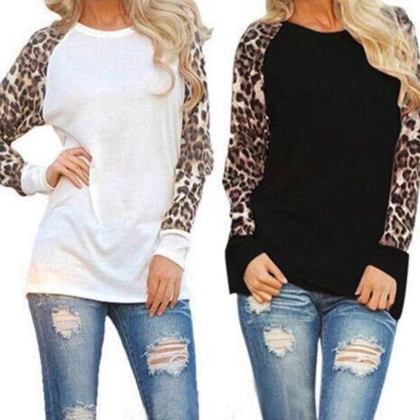 Womens Leopard Raglan Long Sleeve T-Shirt Casual Tops Basic Tee Blouse Sweater