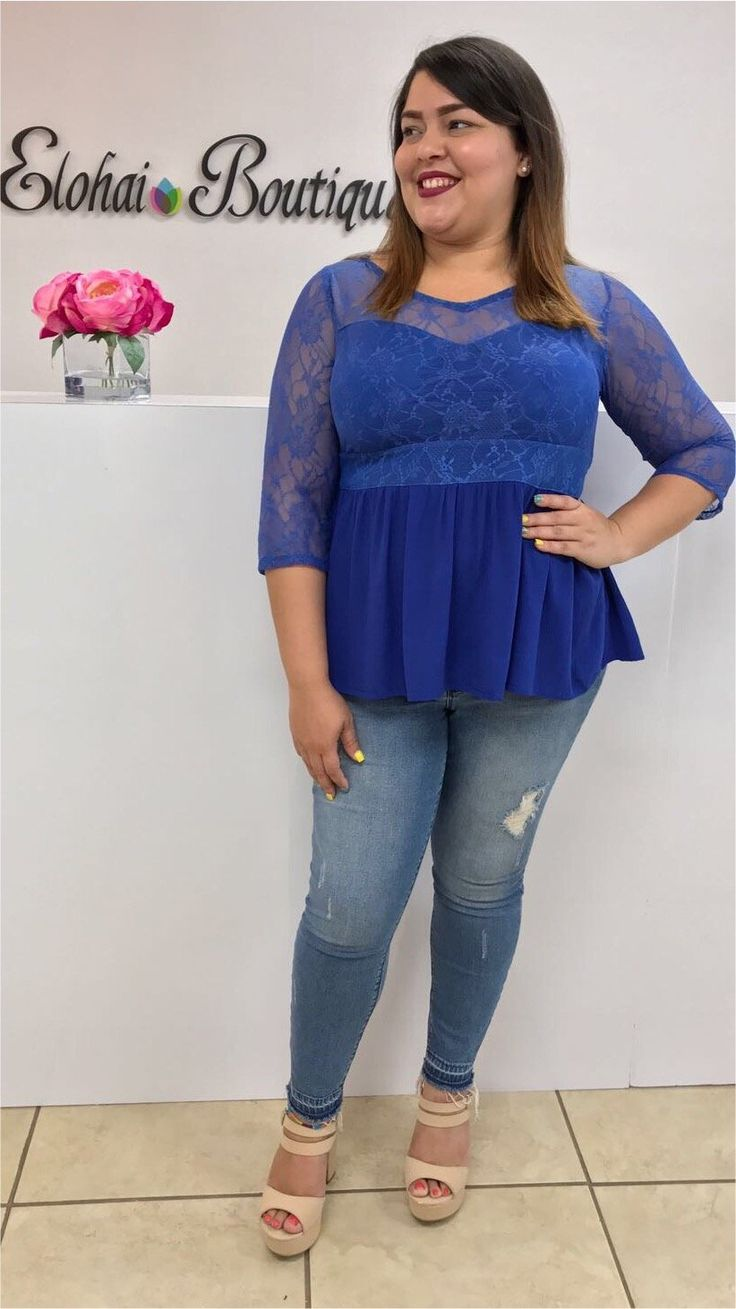 Lace Inset Babydoll-Royal Blue Blouse