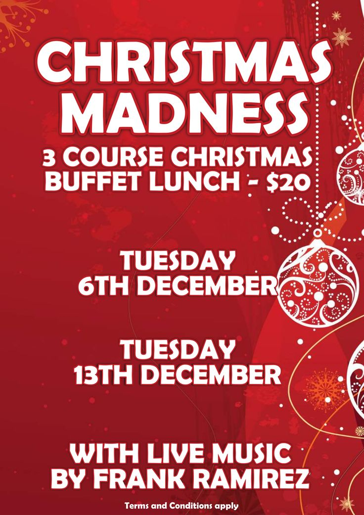 Join us this December for our Christmas Madness lunch on both December 6ht and 13th, with live music by Frank Ramirez