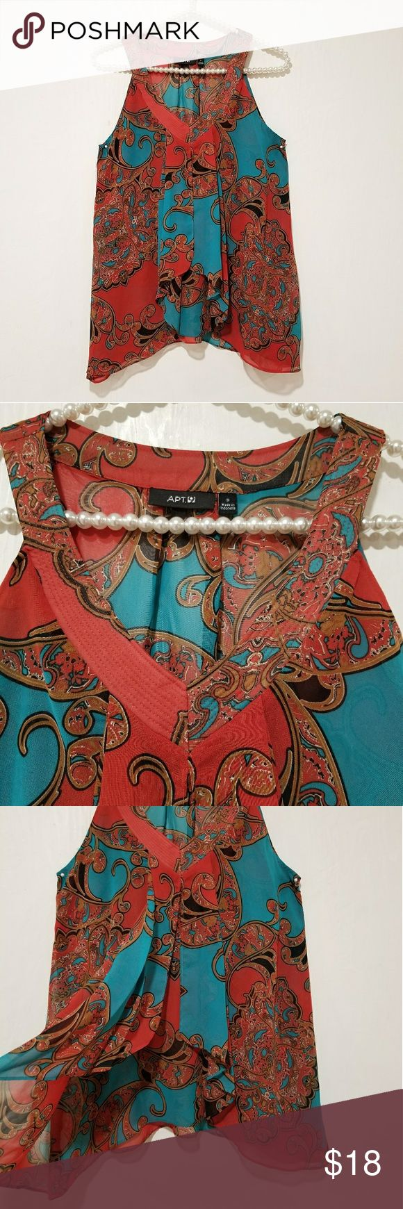 """NWT women blouse light weight colorful Brand new with tag very elegant sleeveless multi colors light weight blouse.  Perfect for casual to party. You can style this with skinny jeans black dress pants shorts. Length =27"""" Chest =16"""" armpit to armpit  Size =small Apt. 9 Tops Blouses"""