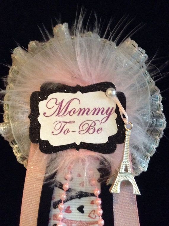 Paris Baby Shower corsage // Mom to be corsage