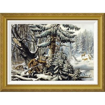 Global Gallery 'American Winter Sports Deer Shooting on The Shattagee' by Nathaniel Currier Framed Painting Print Size: