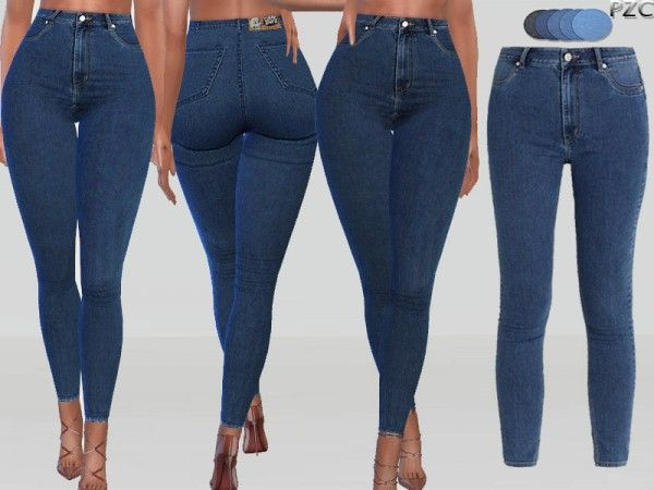The Sims Resource: Monday High Spray Denim Jeans by