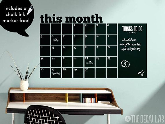 Chalkboard Monthly Wall Decal Calendar Free Chalk Ink by DecalLab, $62.00
