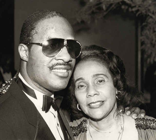 Stevie Wonder with Coretta Scott King while attending 'Martin Luther King, Jr.: A Celebration of Life,' honoring her late husband in 1984. (Photo by Ron Galella/WireImage)