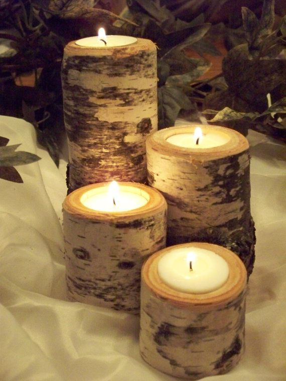 18 Ensembles de bouleau rustique Tea Light Candle titulaires, centres de table de mariage, Journal de bouleau naturel