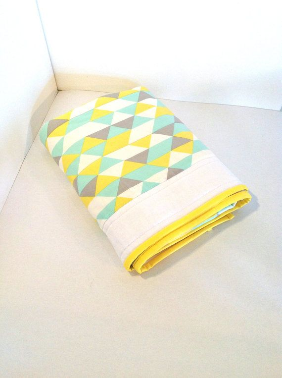 Geometric Baby Crib Quilt in grey, yellow and mint....ready to ship. $120.00, via Etsy.