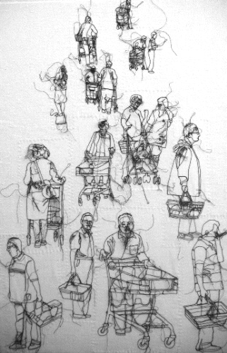 Supermarket, stitched drawing by Rosie James http://www.rosiejames.com #textile_art #embroidery