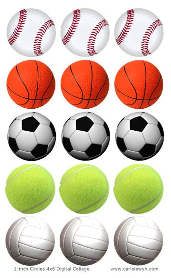 Sports Balls Printable 1 Inch Circles Bottlecap Images Baseball Basketball Soccer Tennis Volleyb Soccer Tennis Sports Coloring Pages Sports Balls