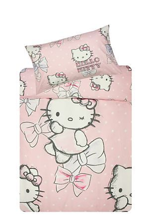 Make sleep time fun with this Hello Kitty ribbon duvet cover set made from a 132 thread count polycotton. Single and three quarter include 1 standard pillowcase, double includes 2 standard pillowcases. Three quarter: R199.99