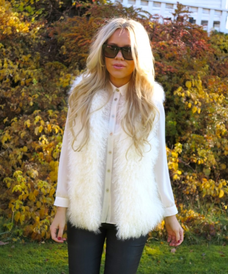 white fur vest: I need to wear mine