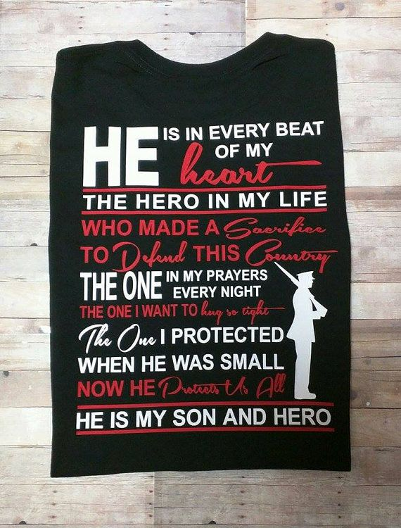 He Is My Son And Hero MARINE Shirt Up to 5X by BackwoodsKustoms