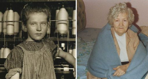 In the last ten years, Joe Manning has tracked down the life stories of more than 350 child laborers in Lewis Hine's documentary photography for the National Child Labor Committee.  Pictured: Lewis Hine's photograph of 12-year-old Addie Card, a spinner in a Vermont mill, and Addie at age 90. (Courtesy Addie's family)