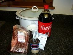 Crock Pot Coke Roast.. I used a can of beef broth instead of the soup and it was really good.