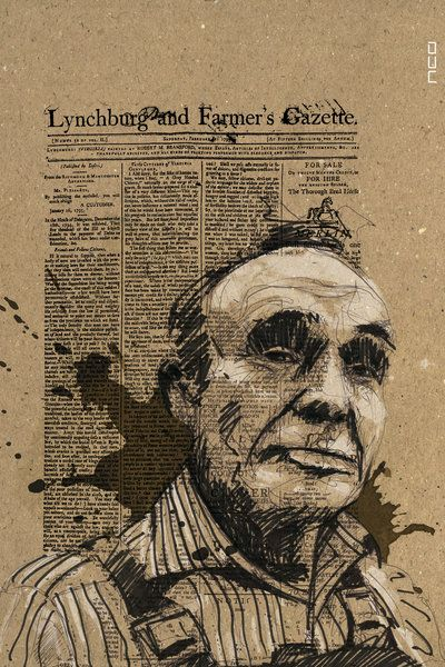 newspaper art, way of putting together written info on the person, inc the image