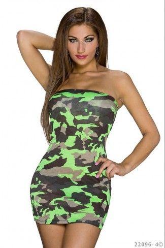 Στρατιωτικό στράπλες μίνι φόρεμα - Νέον Πράσινο Καμουφλάζ