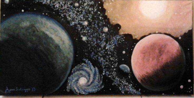 Anna Selvaggio: Astri (2013). Olio su tela, tecnica a pennelli