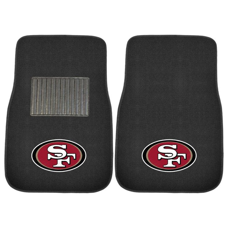 NFL - San Francisco 49ers Heavy Duty 2-Piece 17 in. x 25.5 in. Nylon Carpet Embroidered Car Mat, Black