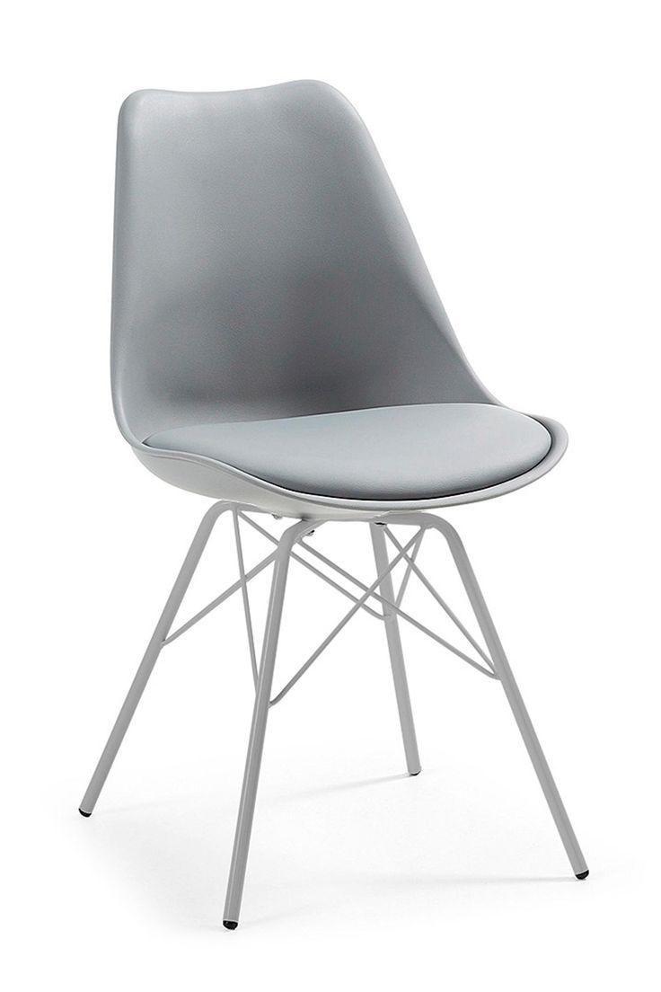 De grijze eetkamerstoel Lars heeft een zitting van kunststof en metalen poten. Een kussen bekleed met imitatieleer biedt extra zitcomfort. De poten van deze stoel zijn van grijs gespoten metaal en zijn uitlopend. De poten zijn voorzien van plastic dopj.. meer informatie