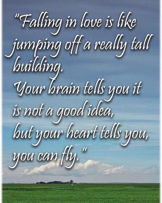 Falling in love is like jumping off a really tall building. Your brain tells you it is not a good idea but your heart tells you you can fly. #Quote #Love #LoveQuotes http://Focusfied.com